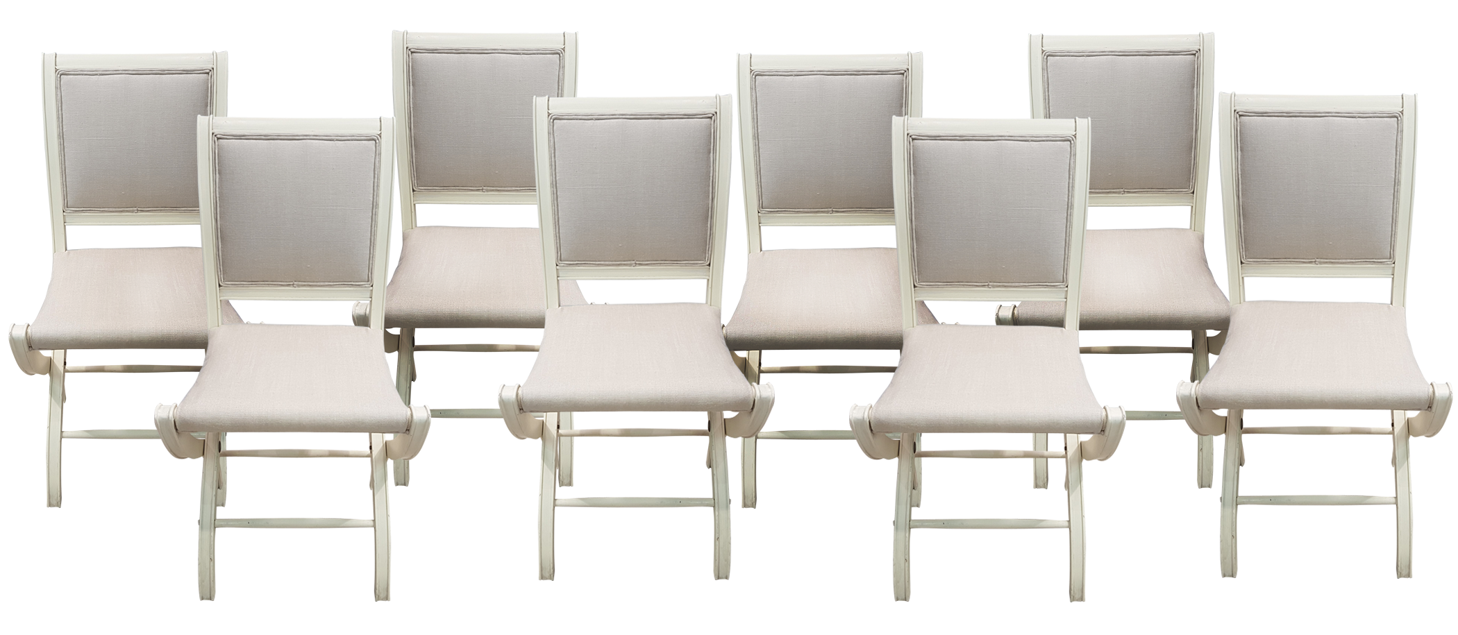 Set Of Eight Upholstered Folding Chairs ...