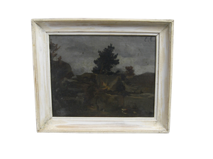 Oil on Canvas of Landscape with Rock Face
