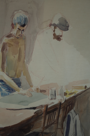 Watercolour of Two Men at Drapers Table, Unfinished