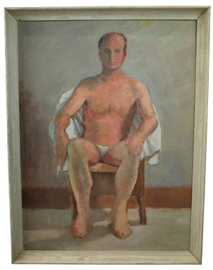Oil on Board Seated Male Nude