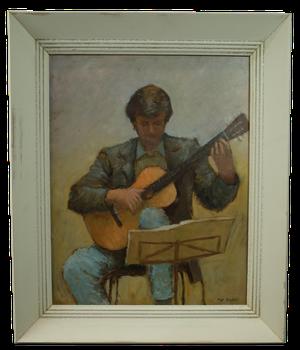 Oil on Board Guitarist
