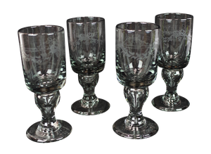 Set of Four Etched Amethyst Wine Glasses