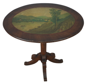 Pedestal Table with Painted Rural Scene