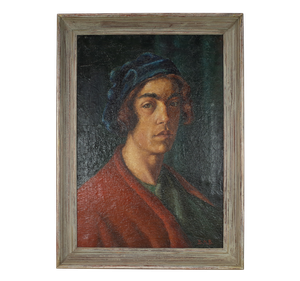 French School Oil on Canvas of Artist Self Portrait