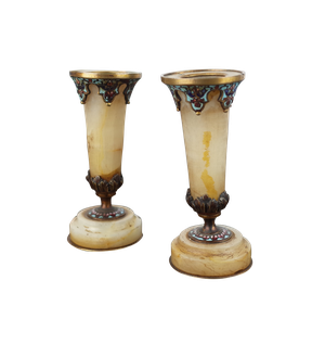 Pair of Small Champleve Enamel Decorated Alabaster Stem Vases