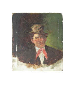 Small Oil on Board Portrait of Gentleman in Top Hat
