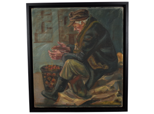 Oil on Canvas Portrait Old Man with Brazier