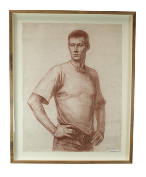 Pencil and Charcoal Portrait of Standing Male by Anna Grishina