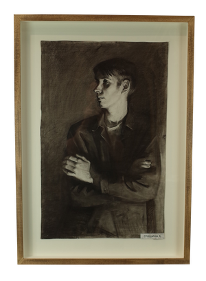 Pencil and Charcoal Portrait of Young Male by Anna Grishina