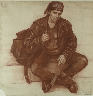 Pencil and Charcoal Portrait of Seated Male by Anna Grishina