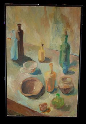 Oil on Canvas Still Life of Bottles