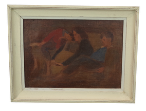 Unfinished Oil on Board of Two Children Reclining with Mother