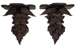 Pair of Large Black Forest Carved Wall Brackets