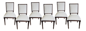 Set of Six Louis XVI Style Squareback Dining Chairs in Antique Linen