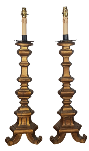Pair of Gilt Pricket Stick Table Lamps