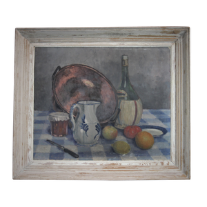 Oil on Canvas Still Life Tablescape with Copper Pan