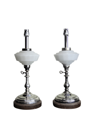Pair of Converted Opaline Glass and Silver Plate Oil Lamps