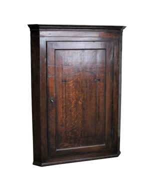 George III Oak Corner Cupboard with Ebony Inlay