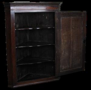 George III Oak Corner Cupboard with Ebony Inlay