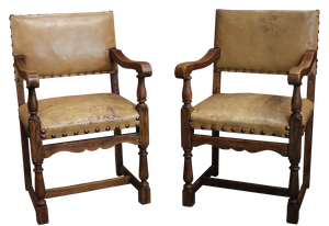Pair of Oak Leather Open Arm Chairs
