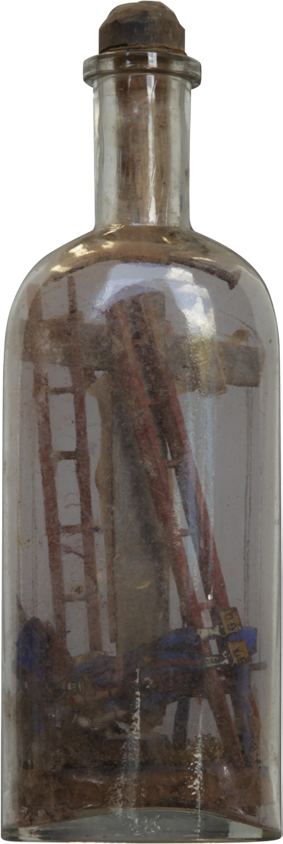 Religious Folk Art Sculpture in a Bottle