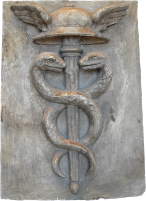 Plaster Caduceus Plaque with Hermes and Snakes