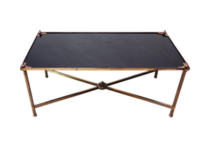 Black Glass and Brass Low Table