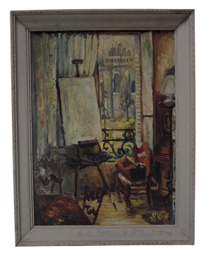 French Atelier Oil on Canvas of an Artists Studio Signed 'A KAN'