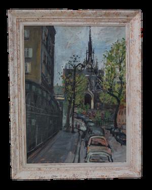 Oil on Board of Quatier Notre Dame Paris