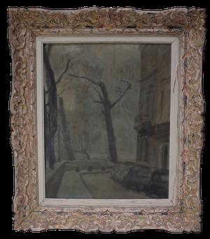 Oil on Canvas of a Foggy Paris Street Scene