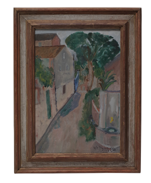 Oil on Canvas of a Street Scene Signed A G Nyberg