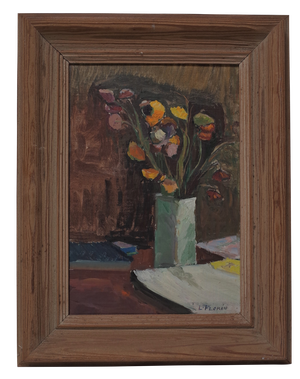 Oil on Canvas of Flowers in a Vase Signed L Floren