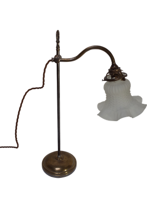 Plated Students Lamp with Pressed Glass Shade