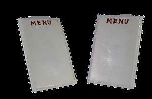 Pair of Ceramic Cartonware Mini Menu Plaques