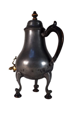 Pewter Coffee Pot with Wooden Handle