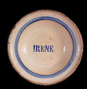 Stoneware Glazed Bowl with Name of Irene