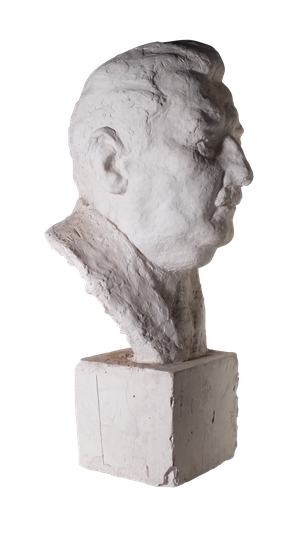 Large Studio Plaster Bust of Moustached Man