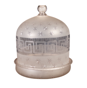 Regency Star Cut and Greek Key Etched Glass Cheese Dome