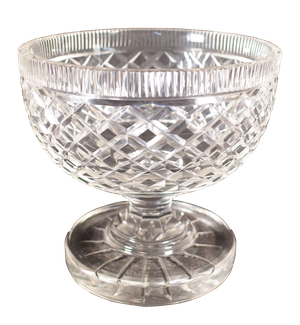 Diamond Cut Glass Footed Bowl
