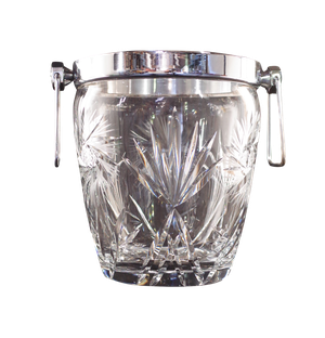Cut Glass and Chrome Ice Bucket