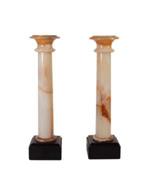 Pair of Marble Column Garnitures