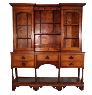 Golden Oak Welsh Dresser with Upper Plate Rack and Two Glazed Cupboards