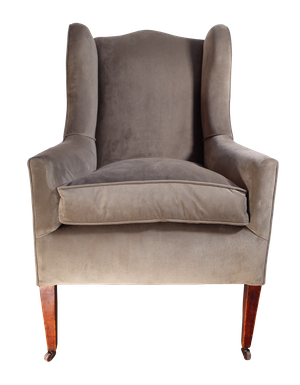 Edwardian Wingback Armchair in Grey Velvet