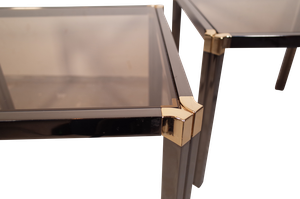 Pair of Nickel and Brass Low Tables with Tinted Glass Tops