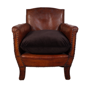 Small Leather Club Chair with Velvet Cushion