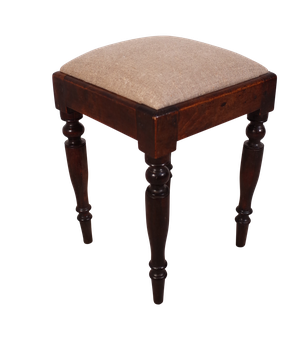 Small Square Mahogany Stool with Upholstered Pad