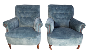 Pair of Scrollback Buttoned Armchairs Upholstered in Velvet
