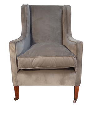 Wingback Armchair Upholstered in Velvet