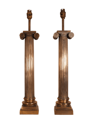Pair of Brass Ionic Column Table Lamps