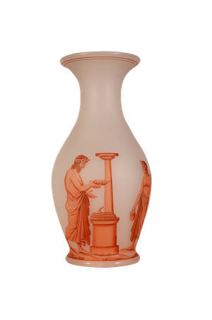 Etched Glass Vase with Overlaid Classical Figures by Richardson